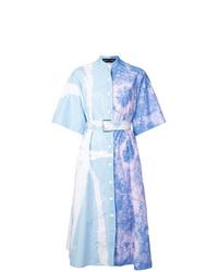 Vestido camisa efecto teñido anudado celeste de Proenza Schouler