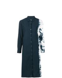 Vestido camisa efecto teñido anudado negra de Suzusan