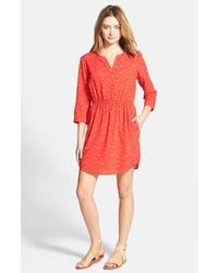 Vestido camisa estampada roja