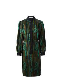 Vestido Camisa Estampada Verde Oscuro de Jean Louis Scherrer Vintage