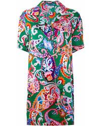 Vestido camisa estampada verde de Kenzo