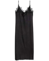 Vestido camisola de encaje negro