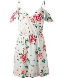 Vestido casual con print de flores en blanco y rosa de Joie
