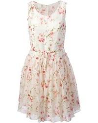 Vestido casual con print de flores en blanco y rosa de RED Valentino