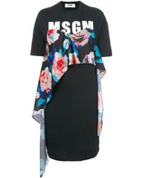Vestido casual con print de flores negro de MSGM