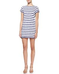 Vestido casual de rayas horizontales en blanco y azul marino