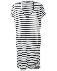 Vestido casual de rayas horizontales en blanco y negro