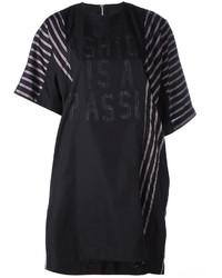 Vestido casual de rayas verticales negro de Sacai