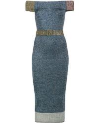 Vestido con hombros al descubierto azul de Christopher Kane