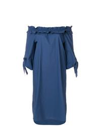Vestido con hombros al descubierto azul de Luisa Cerano