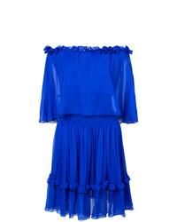 Vestido con hombros al descubierto con volante azul de Prabal Gurung