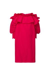 Vestido con hombros al descubierto con volante rosa de Jorge Vazquez