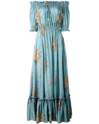 Vestido con hombros al descubierto de seda en turquesa de Alexander McQueen