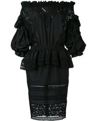 Vestido con hombros al descubierto de seda negro de Faith Connexion