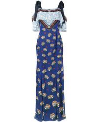 Vestido con hombros al descubierto estampado azul de Mary Katrantzou