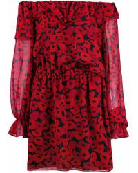 Vestido con hombros al descubierto estampado rojo de Saint Laurent