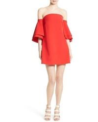 Vestido con hombros al descubierto rojo