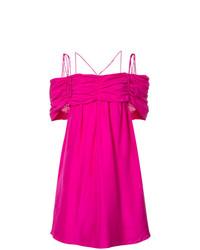 Vestido con hombros al descubierto rosa de Isa Arfen
