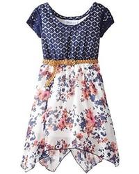 Vestido con print de flores azul