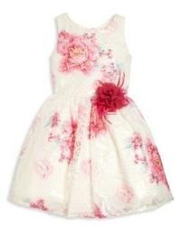 Vestido con print de flores blanco