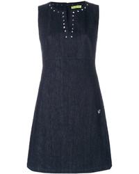 Vestido con tachuelas azul marino de Versace
