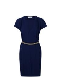 Vestido cruzado azul marino de Lanvin