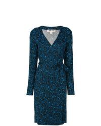 Vestido cruzado bordado azul marino de Dvf Diane Von Furstenberg