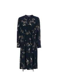 Vestido cruzado con print de flores azul marino de Vince
