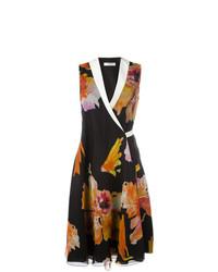 Vestido cruzado con print de flores en multicolor de Lanvin