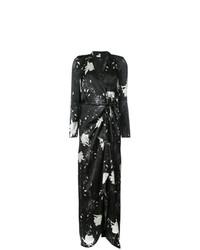 Vestido cruzado con print de flores negro de Paule Ka
