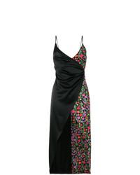 Vestido cruzado con print de flores negro de Ssheena