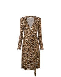 Vestido cruzado de leopardo marrón de Dvf Diane Von Furstenberg