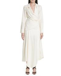 Vestido cruzado de lino blanco