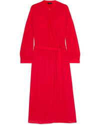 Vestido cruzado de seda rojo