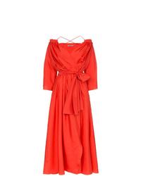 Vestido cruzado de seda rojo de Three Graces