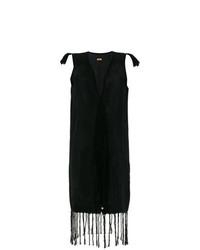 Vestido cruzado сon flecos negro de Caravana