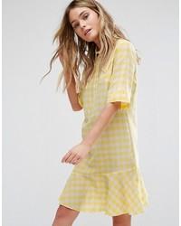 Vestido vichy amarillo mujer