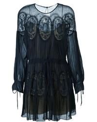 Vestido de encaje azul marino de Chloé