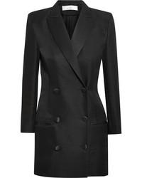 Vestido de esmoquin de seda negro