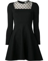 Vestido de Fiesta de Malla a Lunares Negro de Saint Laurent