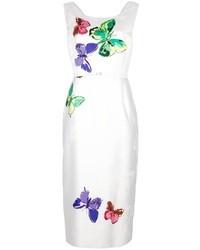Vestido de fiesta de seda estampado blanco de Marc Jacobs