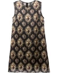 Vestido de fiesta estampado en negro y dorado de Dolce & Gabbana