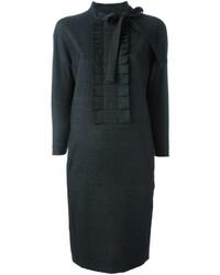 Vestido de lana acolchado en gris oscuro de Maison Margiela