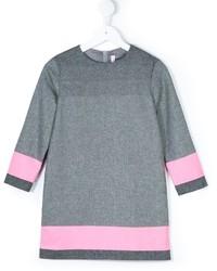 Vestido de lana de rayas horizontales gris de Il Gufo