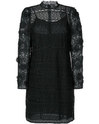 Vestido de malla con print de flores negro de Michael Kors