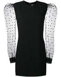 Vestido de malla estampado negro de Saint Laurent