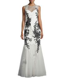 Vestido de noche bordado blanco
