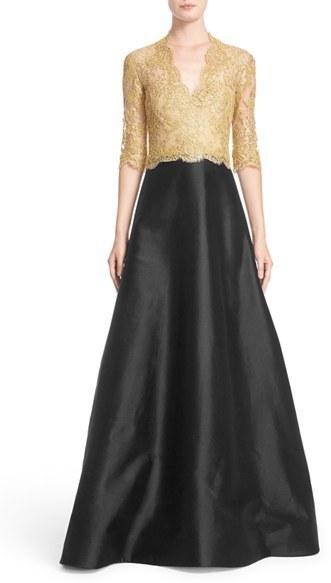 Vestidos de noche negro con dorado