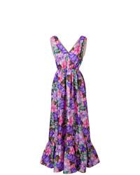 Vestido de noche con print de flores en violeta de MSGM