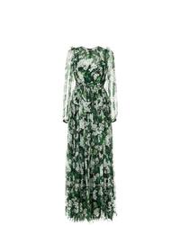 Vestido de noche con print de flores verde oscuro de Dolce & Gabbana